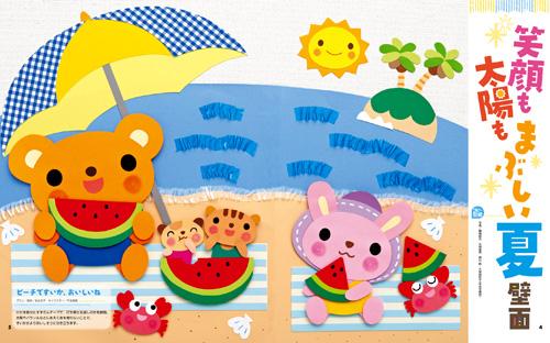 笑顔も太陽もまぶしい夏壁面 ビーチですいか、おいしいね