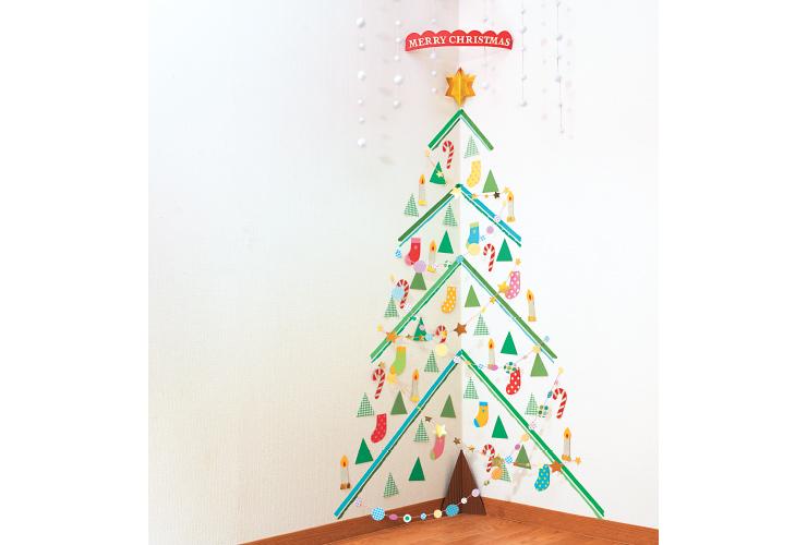クリスマスツリーのウォールデコ