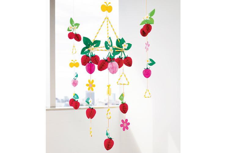素材を活かした春の部屋飾り「いちごのヒンメリ」