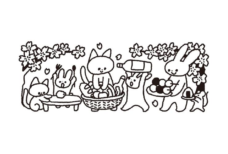 動物のお花見のイラスト